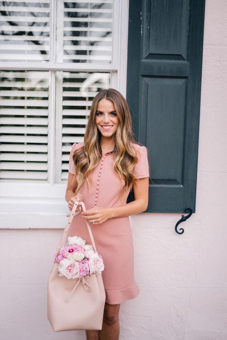Gal Meets Glam Pretty Pink Dress -Red Valentino dress, Mansur Gavriel bag c/