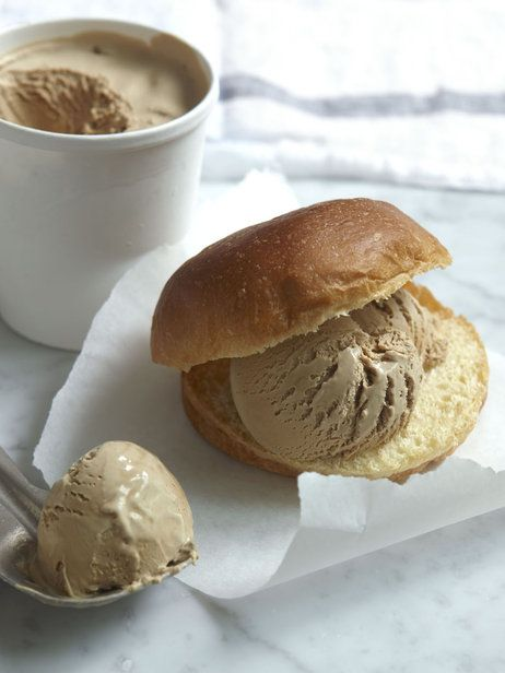 Serve this handmade coffee ice cream with a chocolate sauce, or squidge it into little brioches, like sweet burger buns, as they do in the s...