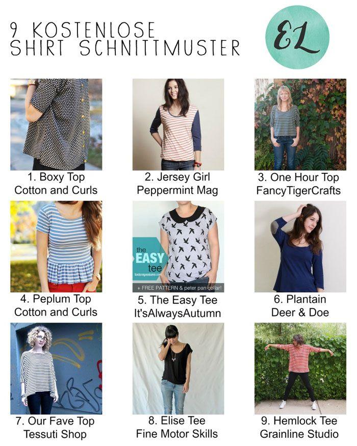 Top 9 – Kostenlose Schnittmuster für Shirts