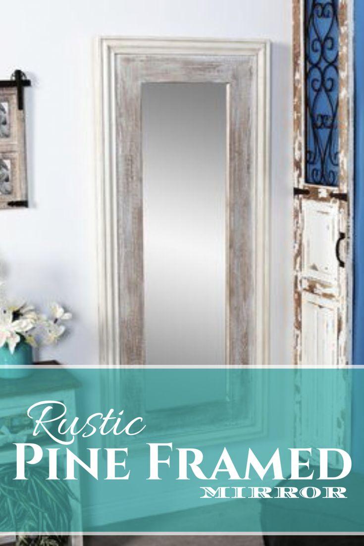 Full length rustic mirror. Frame made of pine. Home decor, rustic home decor ideas, farmhouse decor, rustic farmhouse decor, shabby chic, DIY, country farmhouse decor ideas, full length mirror, wood framed mirror, #ad
