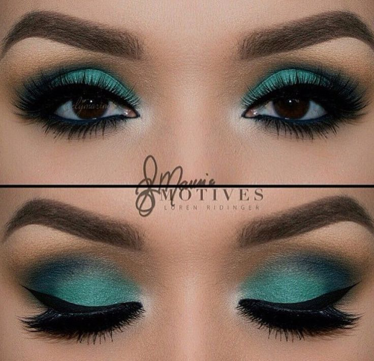 Smokey Black & Turquoise Eye Makeup ☆ | Source: Unknown. Image sourced from google.