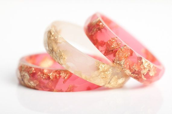 resin ring size 7.5 | thin multifaceted eco resin ring | watermelon pink with gold leaf flakes