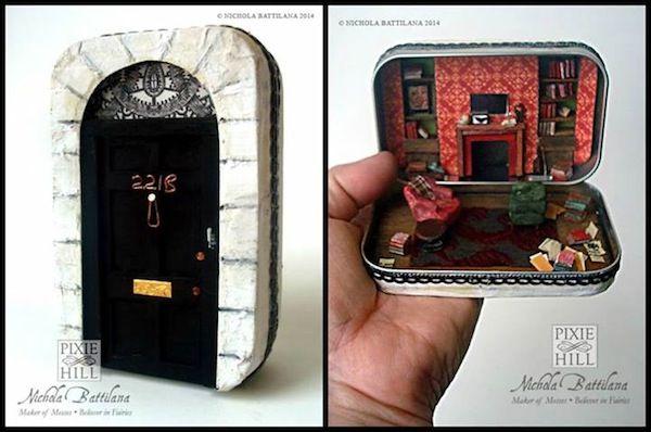 A Miniature 221B Baker Street In An Altoid Tin ||| BBC Sherlock, mint, room box, repurpose, upcycle