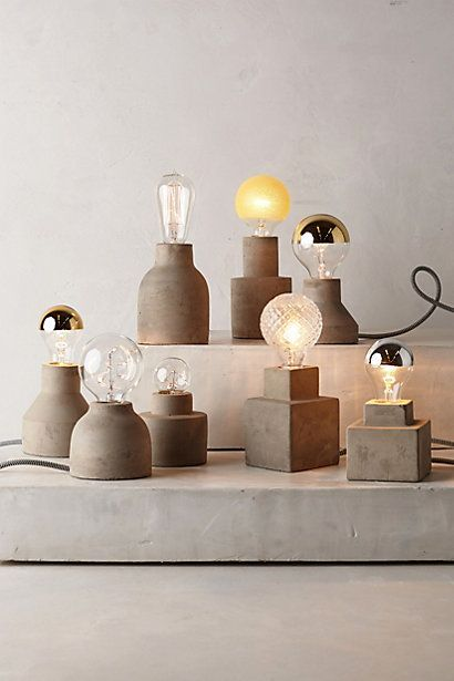 Paved Square Lamp Base - anthropologie.com. Interesting effect made out of waxed concrete.