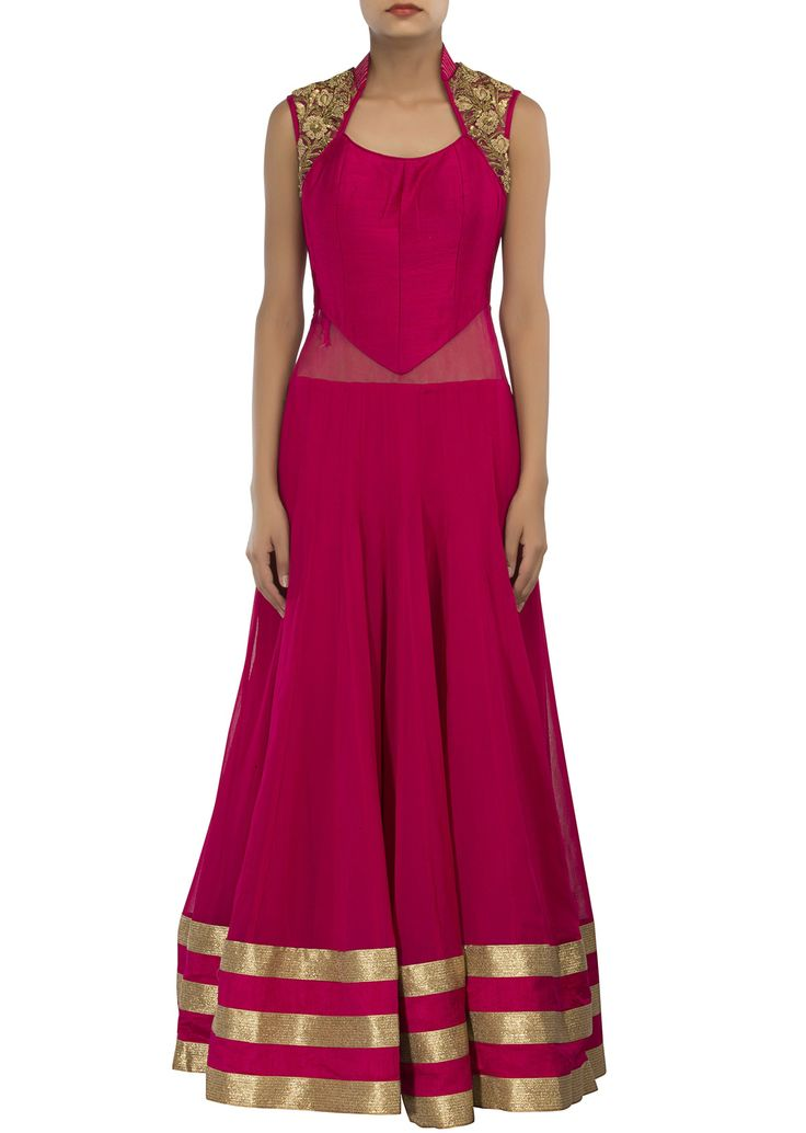 Rani pink anarkali suit adorn in zardosi and sequin embroidery only on Kalki