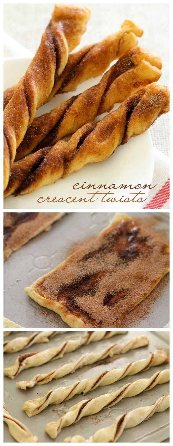 Quick, easy, and delicious Cinnamon Crescent Twists { lilluna.com } Recipe includes crescent rolls, sugar, cinnamon, and butter!