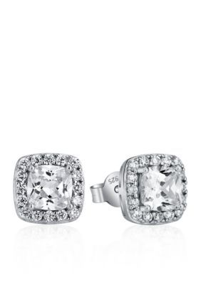Belk  Co. Silver Platinum Plated Sterling Silver Cubic Zirconia Earrings