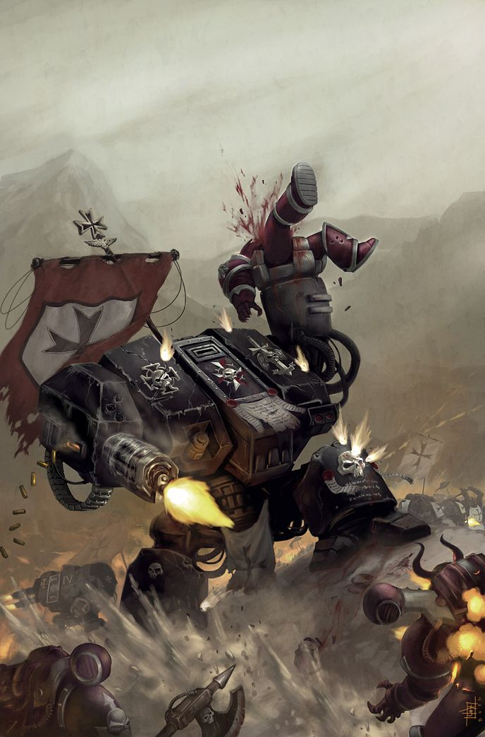 Looks like these Chaos Marines are out of their league against the awesome might of these Dreadnaughts. Black Templars chapter. by MarcWasHere on deviantART