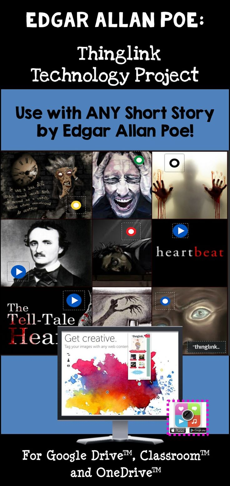 It's Alive! This resource provides you with all materials that you'll need to offer an alternative assessment to your students by using a great motivating tool – technology! Students will love to showcase their knowledge of one of Poe's short stories or poems by creating a dynamic, interactive image that includes tagged sound files, songs, images, videos, and hyperlinks to related websites. This project is designed to be used with ANY of Poe's works!