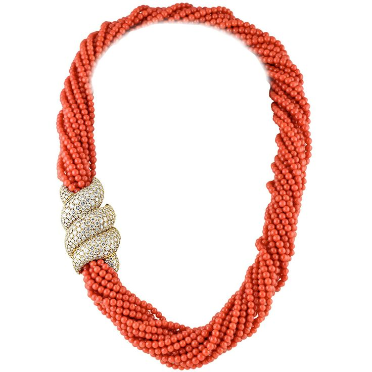 Harry Winston Coral Diamond Gold Torsade Necklace | From a unique collection of vintage multi-strand necklaces at https://www.1stdibs.com/jewelry/necklaces/multi-strand-necklaces/