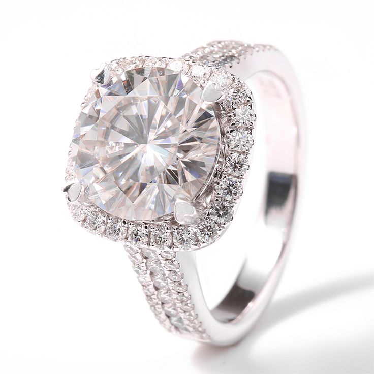 Find More Rings Information about Luxury 5 Carat ct TRANSGEMS Brand EF Colorless Clear Lab Grown Moissanite Ring With Moissanite Accents Solid 14K 585 White Gold,High Quality gold,China ring gem Suppliers, Cheap gold ring models from  CPP  sLowgUs'hop on Aliexpress.com