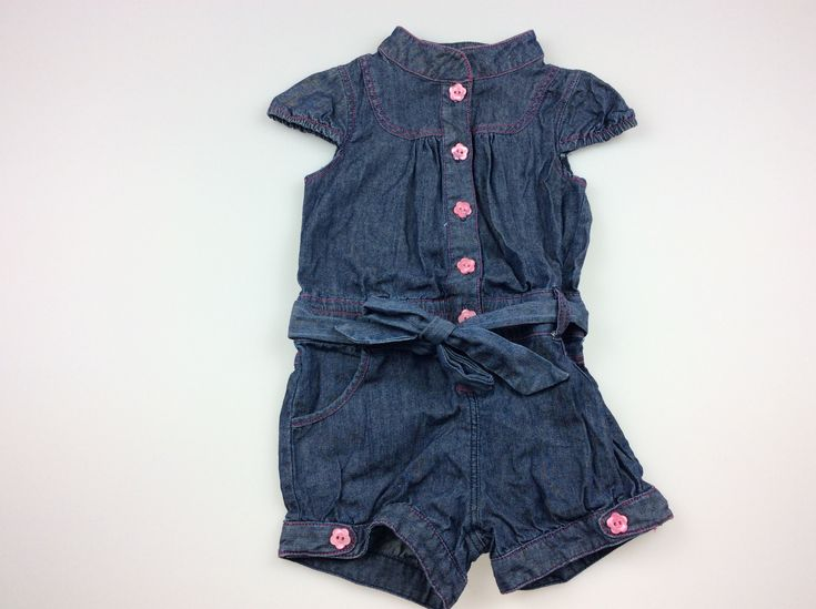 Sprout, denim playsuit with pink flower buttons, excellent pre-loved condition (EUC), girl's size 1, $9 #kidsfashion #girlsfashion #babyfashion #sprout #daisychainclothing