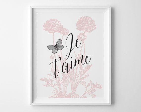 Je t'aime stampa floreale, farfalla Art, rosa e nero Decor, Pink Girls Bedroom Decor, Decor vivaio francese stampa fiore di ranuncolo