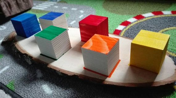 Montessory made to order game, matching colors, wood cubes