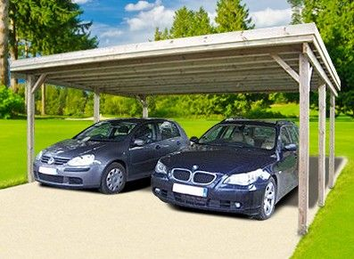 On double la surface un carport en bois brut trait for Taille garage 2 voitures