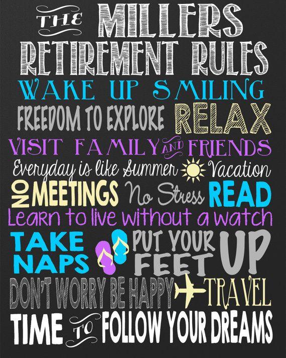 Retirement Rules Chalkboard - Custom retirement board, personalized retired sign - digital file