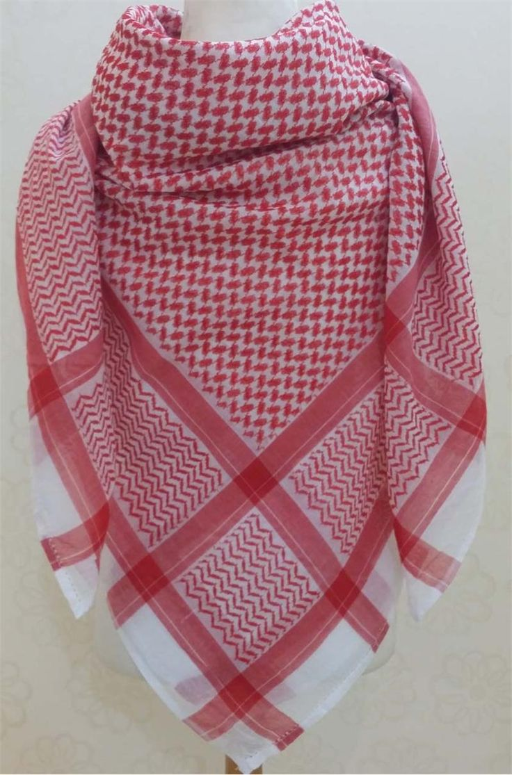 """Middle Eastern Men's """"Shemagh"""" Keffiyeh which is also known as a head scarf is worn part of men's Arab and Middle Eastern clothing."""