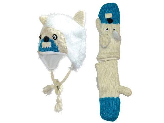 White yeti animal knit hat with mittens set  by HatsMittensEtc