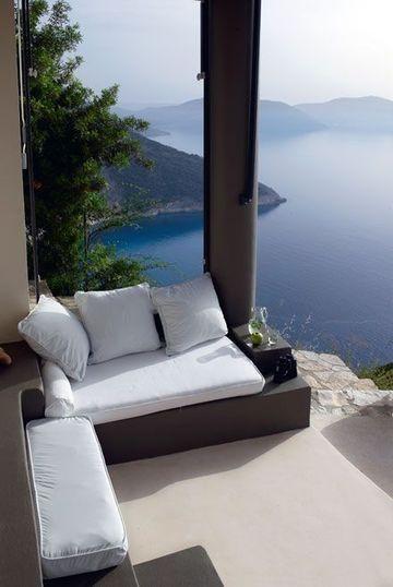 Contrasted Colours outdoor Salon at Villa with breathtaking views over Myrtos Beach on Kefalonia Island, Greece