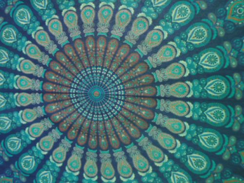 Green-Multicolour-printed-wall-tapestry-indian-bedspread-mandala-tapestry