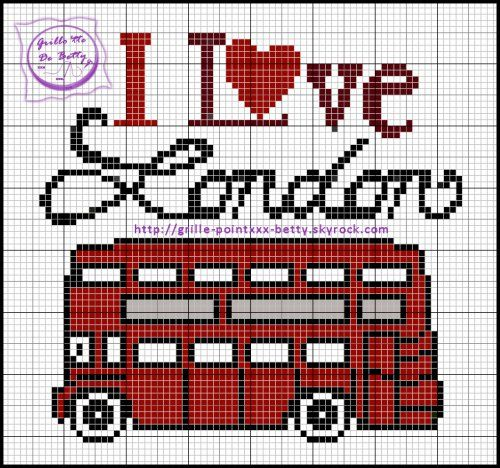 Pays - country - london bus - point de croix - cross stitch - Blog : http://broderiemimie44.canalblog.com/