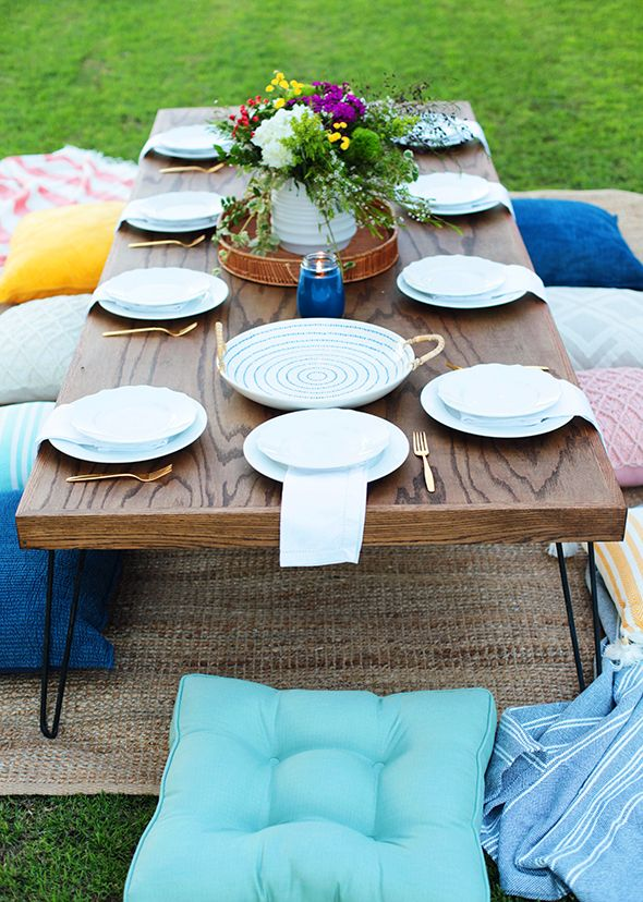 DIY low table from furniture grade plywood and hairpin legs. For a screen porch dining area? Girls Night Outdoor Dinner Party - Little Green Notebook