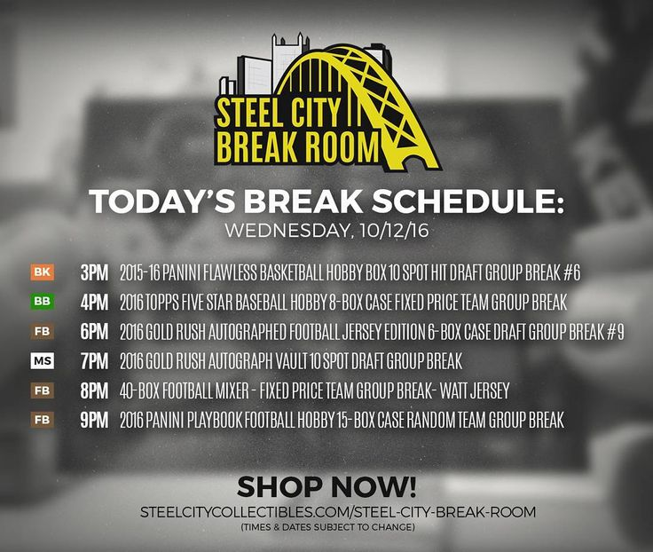 Today's Steel City Break Room schedule! Spots are filling up fast!  http://ift.tt/2cz4yff  #NFL #football #groupbreak #autographed #jjwatt #texans #sccbreakroom #thehobby #whodoyoucollect #panini #goldrush #topps #mixer #hobby