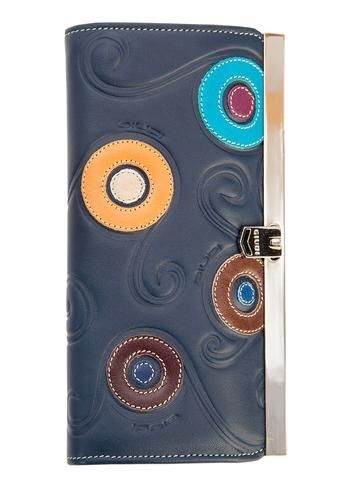 Navy Italian leather wallet with embossed swirls and appliquéd circles. 100% Made in Italy from vegetable dyed leather.