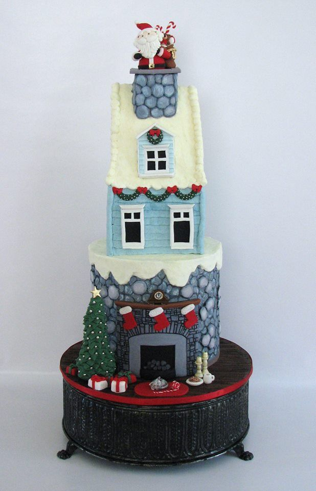 What A Lovely Christmas Cake Stockings At The Bottom Santa In The Chimney At The Top Christmas Cake Christmas Themed Cake Winter Cake