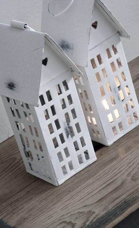 Wit huis lantaarntje laternchen häuschen für kerzenlichter