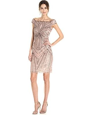 Don't Miss This Deal: Adrianna Papell Women's Off The Shoulder Swirl Beaded Cocktail Dress, Rose Gold, 12