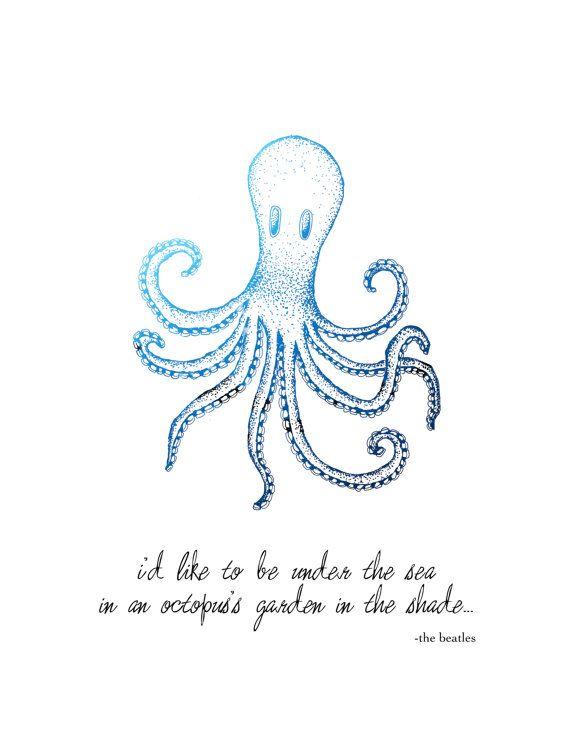 Octopus's Garden Beatles Quote 8x10 Metallic by LeslieSabella, $20.00
