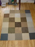 DIY Area Rug using duct tape and carpet sample squares