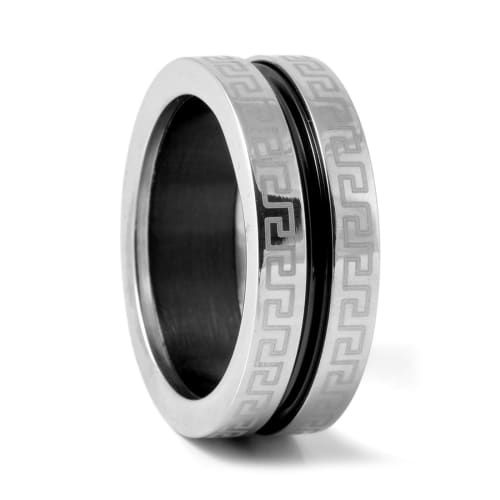 Black Repeating Pattern Steel Ring | In stock! | Fort Tempus