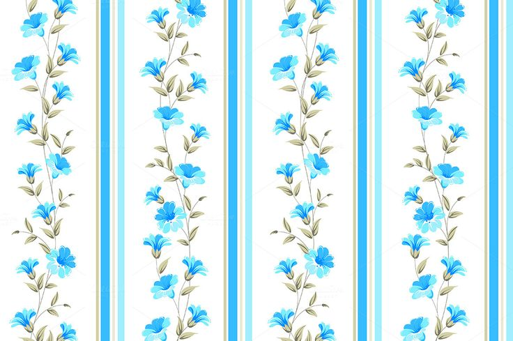 Blue flower wallpaper. by Romantic Vintage Flowers on @creativemarket