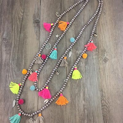 Nepal-Ethnic-Long-Tassel-Shell-Indian-Hippy-Pom-Pom-Beaded-Necklace-Tribal-Boho