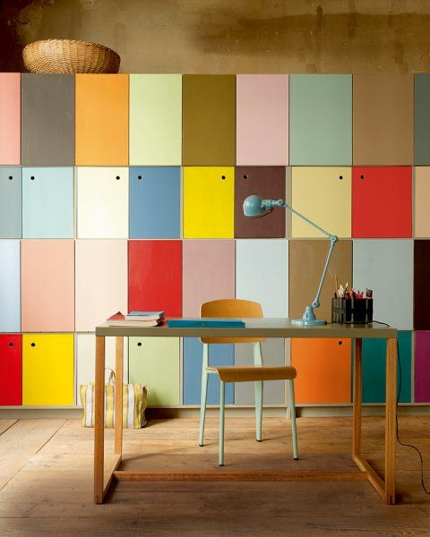 bureau-couleur-casiers-rangement - love this for a wall of a kids playroom or office :) can do it on a similar or smaller scale