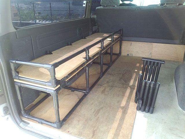 車載折りたたみ式棚 ベッド Diy Life イレクターで できるワクワクを ハイエース 内装 車 内装 Diy キャンピングカーのインテリア