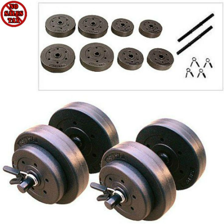 Golds Gym Vinyl Dumbbell Set 40 lb Hand Weights Workout Adjustable Dumbbells New #GoldsGym