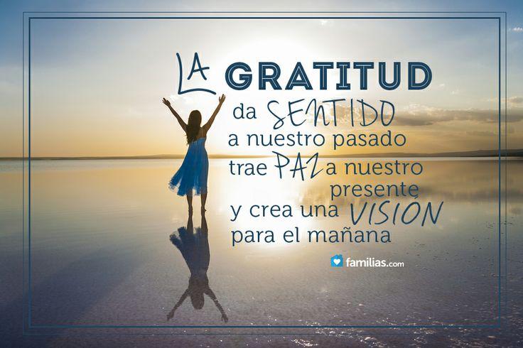 La gratitud trae paz a nuestro ser