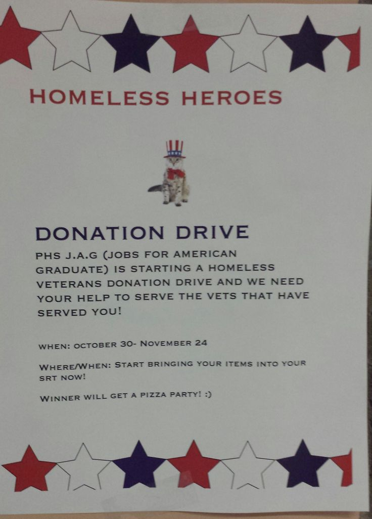 The JAG program at PHS is doing a homeless veteran donation drive. It's now until November 24th. To donate just take anything that is on the lists to your srt and the srt with the most gets a pizza party #vertans @PlymouthCSC_IN