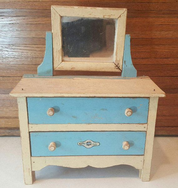 Antique Mary Lu Playthings by J C Penny 1930s Vanity Dresser Two Drawer Cream and Blue Mirror Marked
