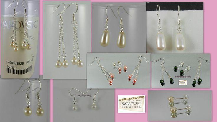 My Handmade earrings made of 925 STERLING SILVER with genuine SWAROVSKI CRYSTAL pearls. Metal: 925 Sterling Silver. Swarovski Crystal Oval Pearls 5816: 11.5 x 6 mm. Swarovski Crystal Round Pearls 5818: 5 mm. | eBay!
