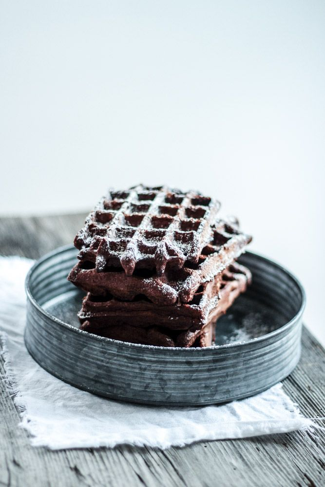 chocOlate waffles with lingonberry yoghurt
