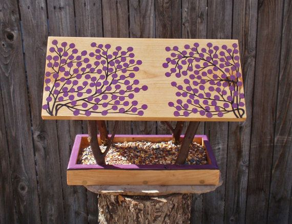 Persnickety Bird Feeder - Covered Bridge Style Open Air Bird Feeder - Twigs & Purple Winter Berries, Reclaimed Wood and Branches Bird Feeder