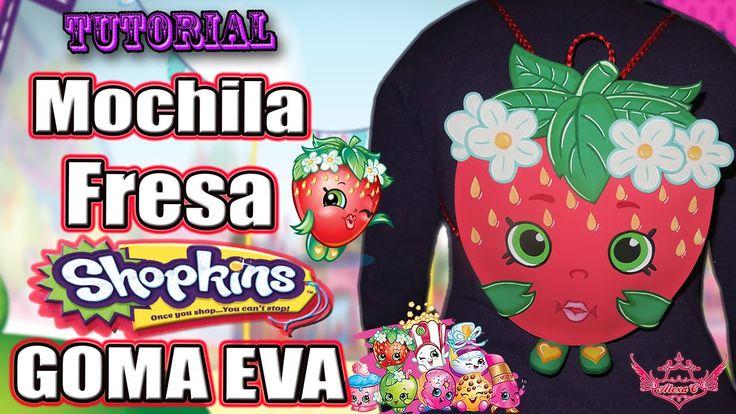 ♥ Tutorial: Mochila o Bolso en forma de Fresa de Shopkins [Goma Eva/Foam...
