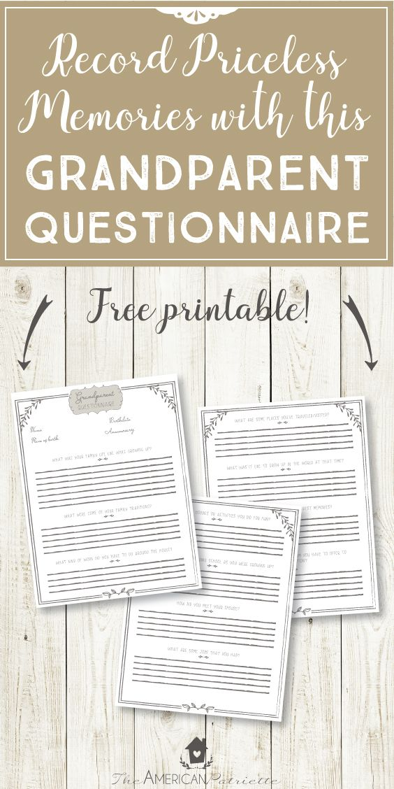 Grandparent Questionnaire; Grandparent Interview; Family Traditions; Family Memories; Keeping Family Memories