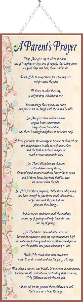 A Parent's Prayer Inspirational Quote Sign with Pink & Blue Flowers