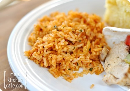 Mexican Rice. You can get most the recipe done during half the cook time of your rice. Reid shovels this in by the handful (and is an adorable mess afterward).