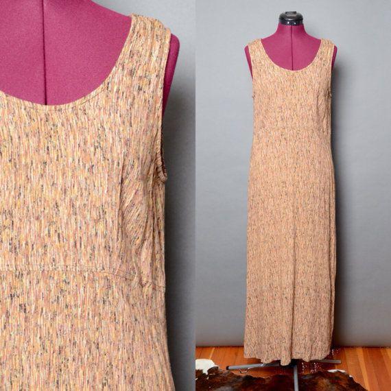 Bohemian Dress 90's Grunge Long Summer Hippie Dreamy Vintage Women's 1990's Medium Tank Boho Sleeveless Dress Made in USA